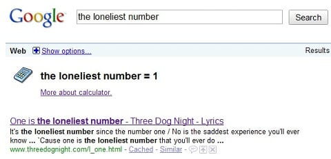 Google - One is the loneliest number