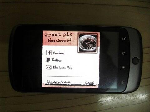 Android Retro Camera Share Print Interface