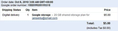 Brought 20GB Storage for Gmail