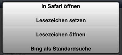Schoenes Bing Lesezeichen Optionen © Markus Klos/apfelmark