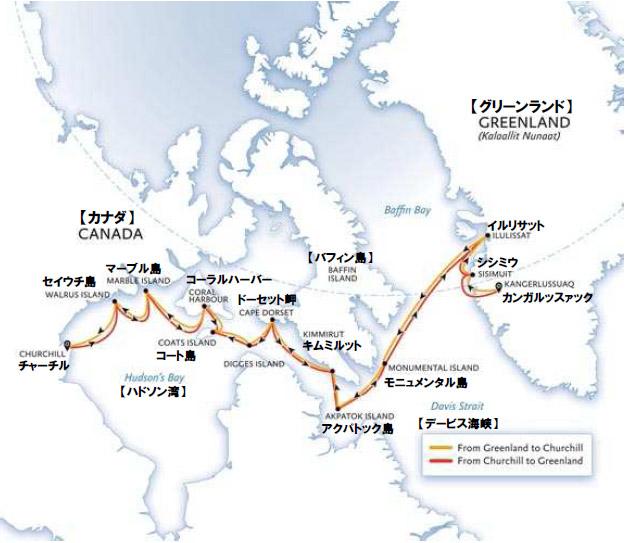 極北クエスト(�T)グリーンランドからチャーチルへ 16日間ルート地図