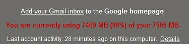 Used up 99% of Gmail Storage