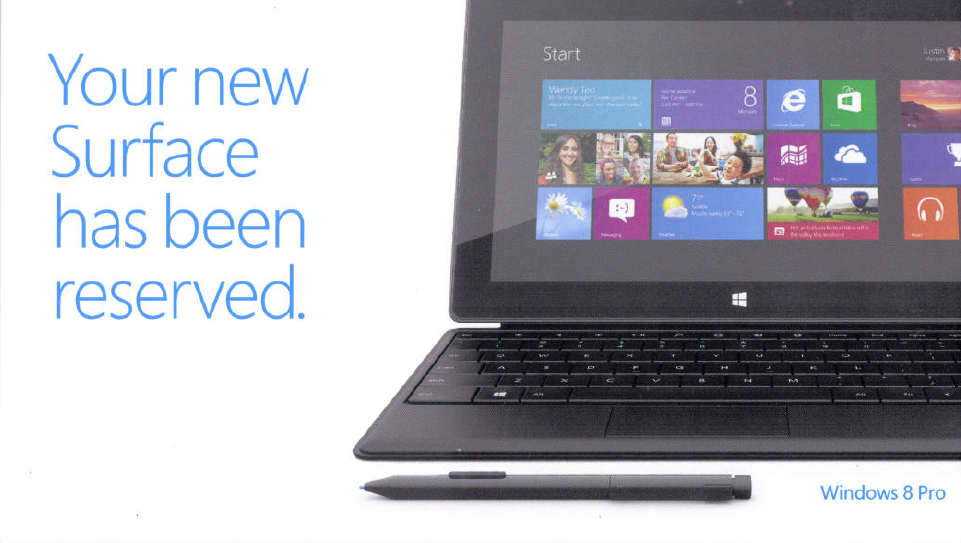 Surface Windows 8 Pro Reservation Pass Front