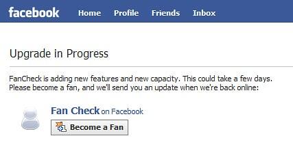Facebook FanCheck Upgrade Notice