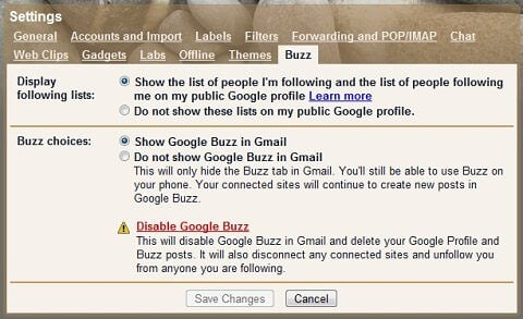 Buzz Settings in Gmail