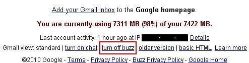 Turn off Google Buzz