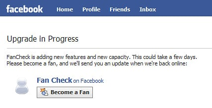 Facebook FanCheck Upgrade Notice