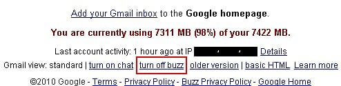 Turn off Google Buzz