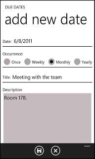 Due Dates App for Windows Phone 7 4