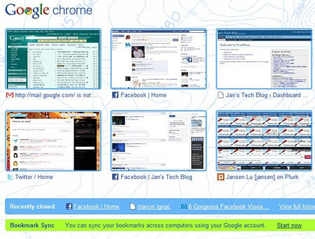 Google Chrome Browser - Bookmark Sync Option