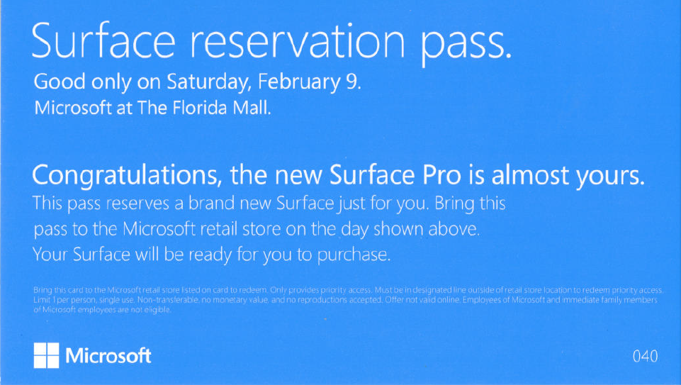 Surface Windows 8 Pro Reservation Pass Back