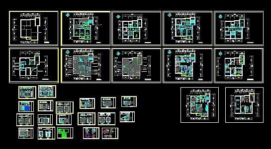 复式建筑全套家装施工图cad图