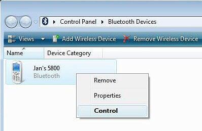 Windows Vista - Bluetooth Devices Window