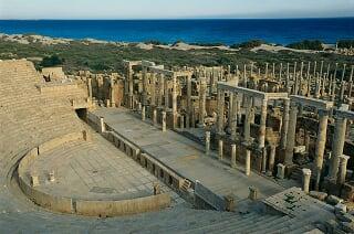 图说:利比亚的古罗马废墟