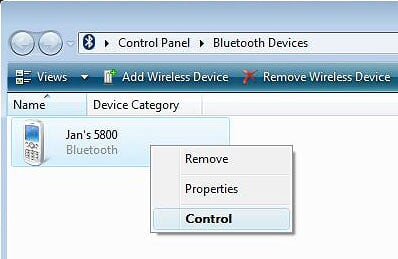 Windows Vista - Bluetooth Devices Window